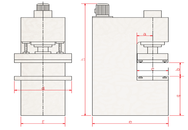 C Type Hydraulic Press Machine Technical Specifications Drawing Layout Plan