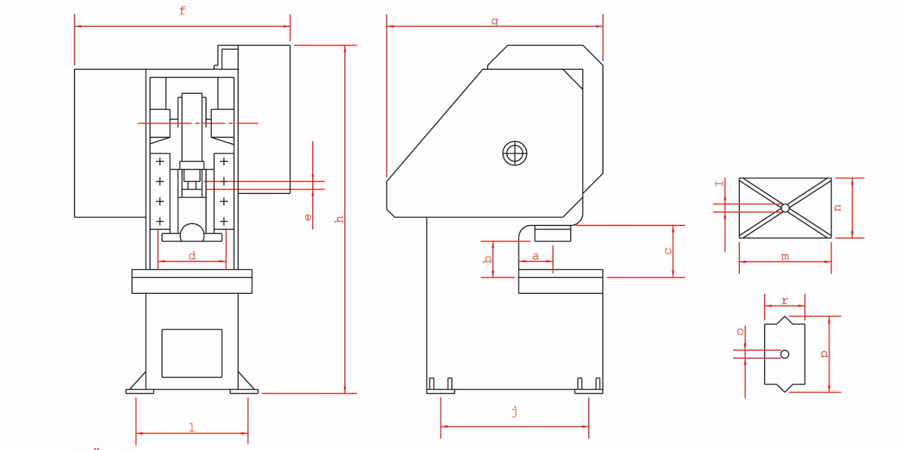 C Type Mechanical Press Technical Specifications features drawing design