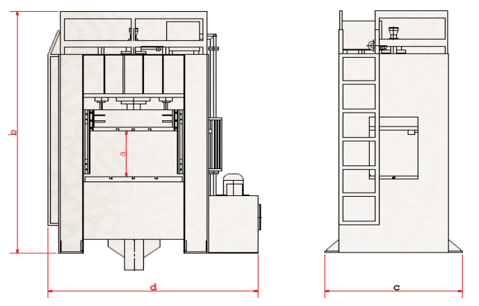 Hydraulic Deep Drawing Press from Turkey technical specifications drawing